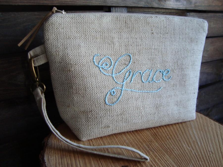 Personalised Cosmetic Bag Rough Linen Personalized Zippered Clutch