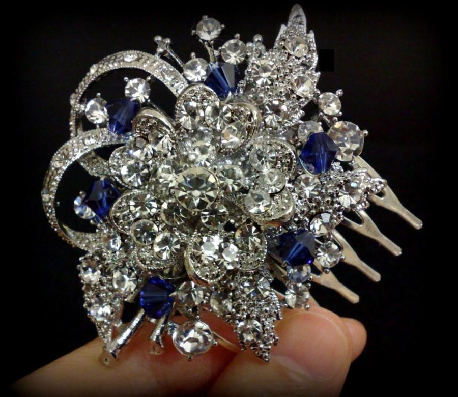 Mariage - Something Blue Bridal Hair Comb, Sapphire Blue Hair Jewelry, Birthstone Swarovski Crystal Headpiece, BOUQUET