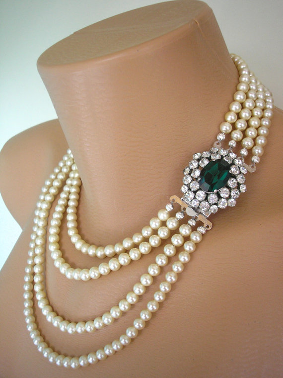 Wedding - Emerald Necklace Statement Necklace Emerald Choker Pearl Necklace Great Gatsby Jewelry Pearl Choker Bridal Jewelry Mother Of The Bride