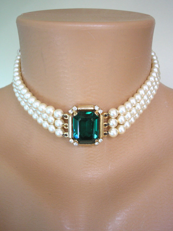 EMERALD Necklace, Bridal Necklace, Statement, Pearl Necklace, Great Gatsby, ROSITA, Pearl Choker ...