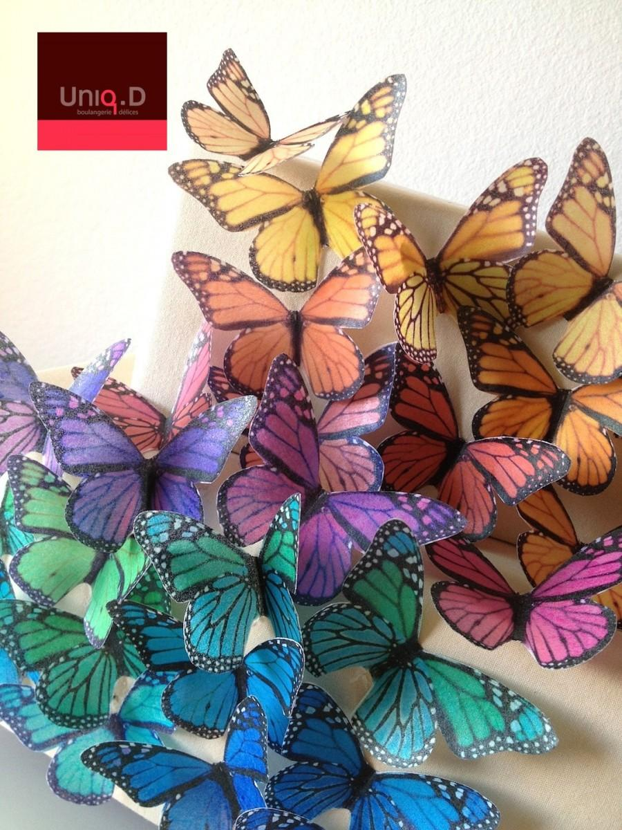 Wedding - BUY 95 get 14 FREE edible butterflies - rainbow monarch butterflies - edible decoration - assorted edible butterflies by Uniqdots on Etsy
