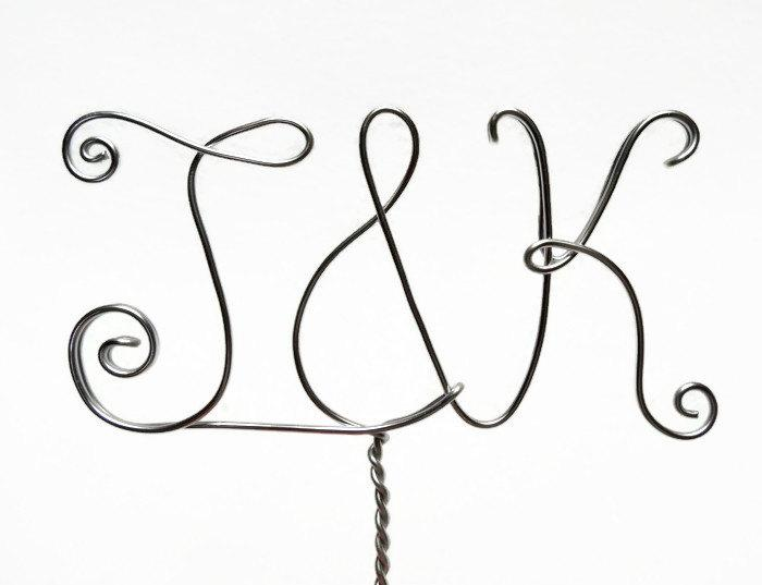 Wire Monogram Initials Cake Topper- Your Choice Of Letters- Silver ...