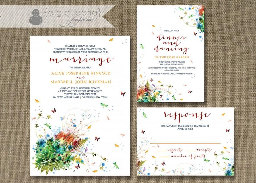 Rainbow Floral Garden Wedding Invitation 3 Piece Suite Reception ...