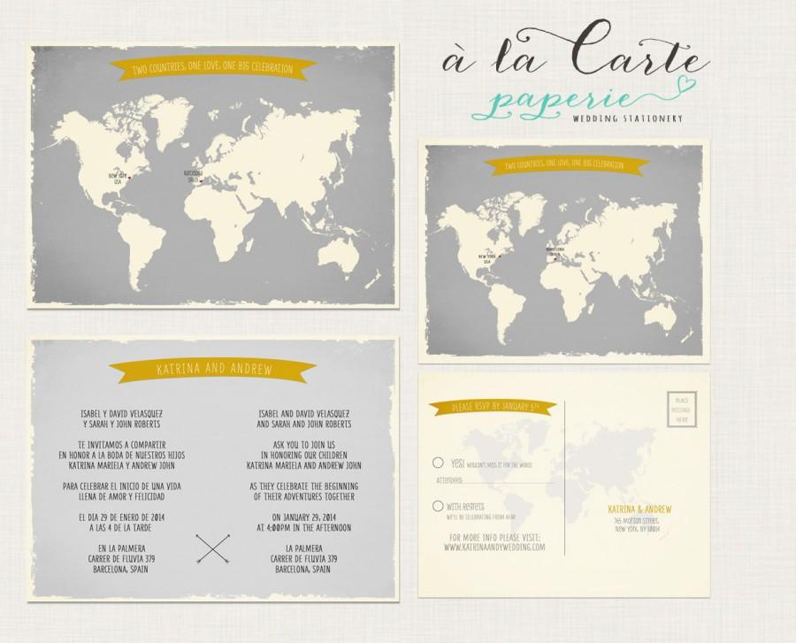 Destination Wedding Invitation World Map Bilingual Invitation RSVP ...