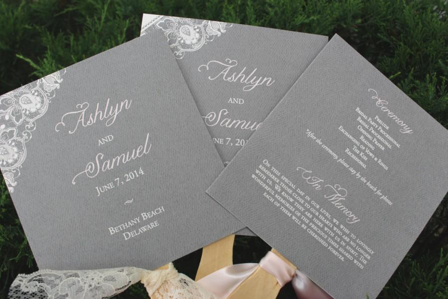 Mariage - Lace Wedding Program Fans, Dark Grey Wedding Program Fans,  Blush and Gray, Program Fan, Blush Lace Fans - Taylor Program Fan SAMPLE