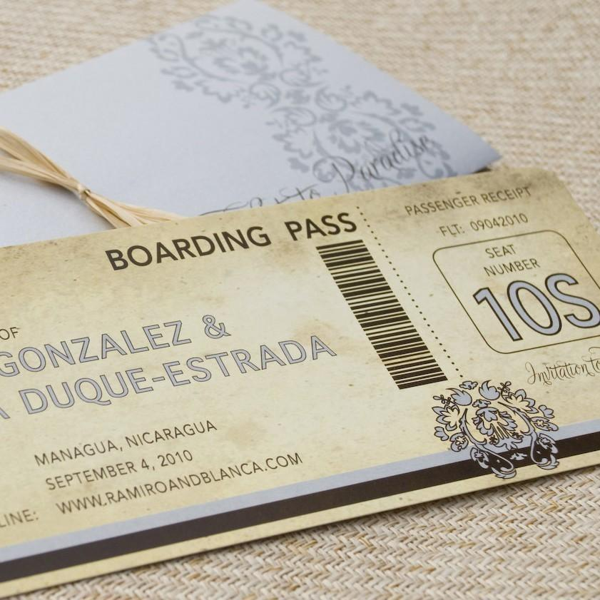 زفاف - Vintage Damask Boarding Pass with Sleeve (Save the Date) - Design Fee