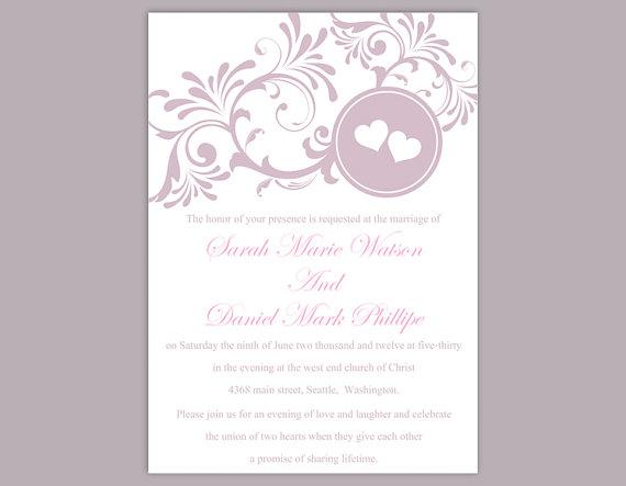 Hochzeit - DIY Wedding Invitation Template Editable Word File Instant Download Printable Purple Invitation Lavender Wedding Invitation Heart Invitation