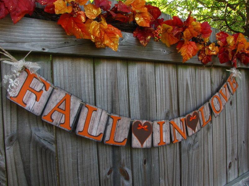Hochzeit - Fall Wedding Banner, Fall In Love Banner, Rustic Wedding Banner, Wedding Signage, Barn Style Wedding Banner, Falling In Love Banner