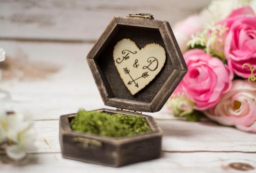 Rustic Wedding Ring Box Moss Ring Bearer Pillow Box Ring Holder Moss