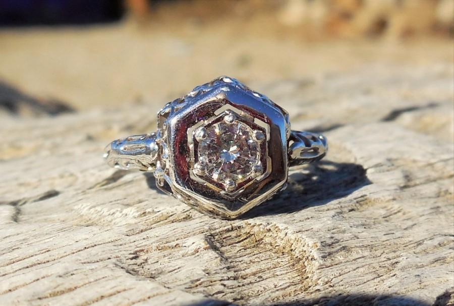 زفاف - Vintage Antique .50ct Diamond Unique Engagement Ring Art Deco 14k White Gold 1940 Mid Century Retro