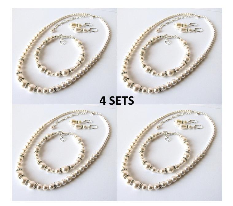 Pearl Bridesmaid Jewelry Set Of 4 Gifts Bridal 3 Piece Necklace Bracelet Wedding White Or Ivory