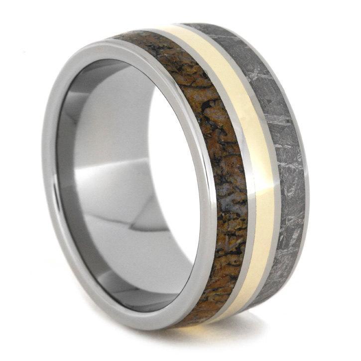 Hochzeit - Meteorite, Dinosaur Bone Ring with 14K Yellow Gold and Titanium Inlays on Titanium Sleeve, Wedding Band, Gift