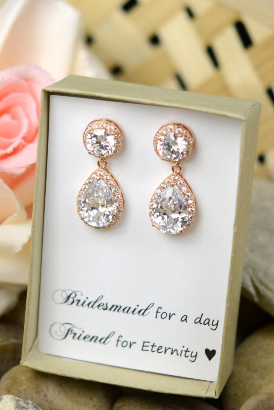 Rose Gold Earrings,wedding Earrings, Bridesmaid Gift, Bridal Earrings,  Cubic Zirconia ,clear, White Teardrop Studs Earrings,cz Post Earrings