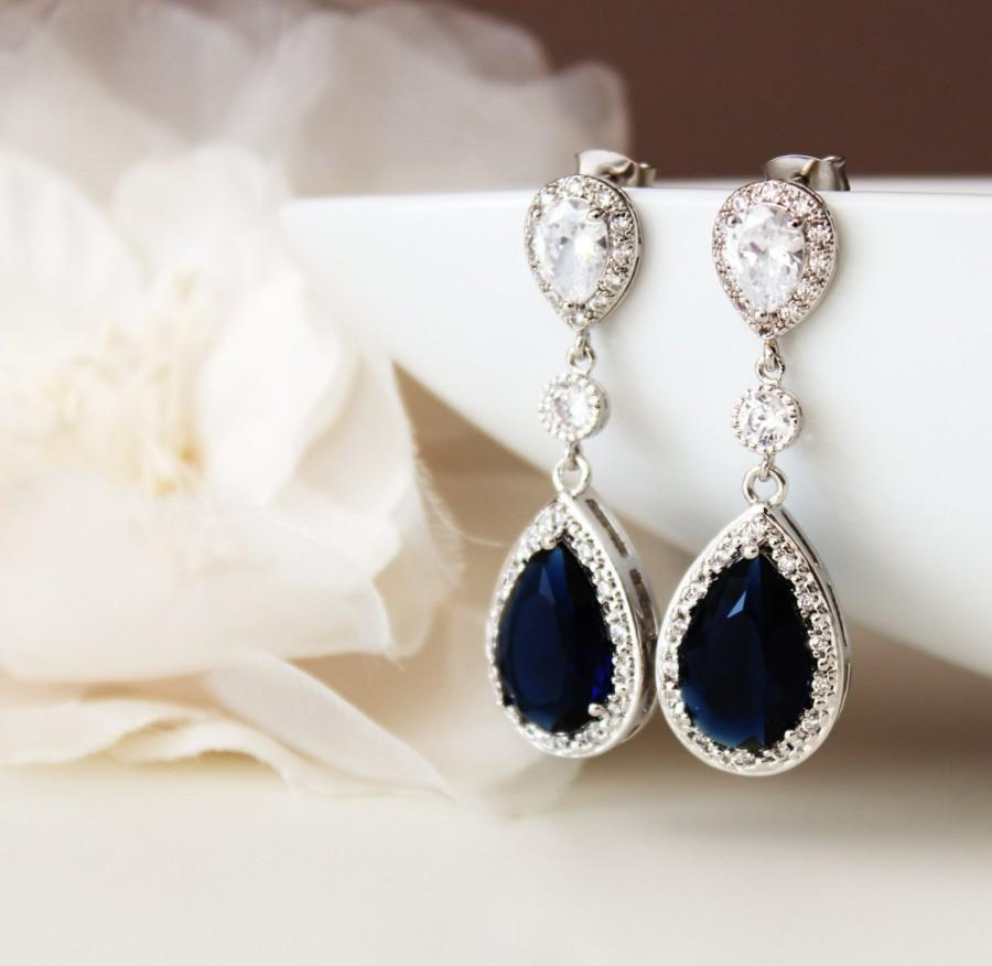Shire Blue Wedding Jewelry Bridal Earrings Long Teardrop Cubic Zirconia Crystal Something