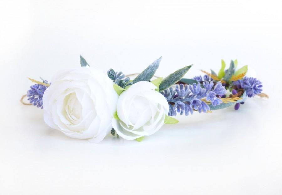 Mariage - Lavender crown Bridal flower crown Lavender flower wreath Lilac and White crown Bridesmaid floral crown Summer wedding Garden wedding