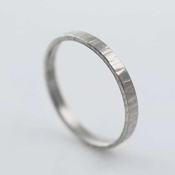 Recycled Hand Forged Palladium Ring 2mm Band Hammered Eco Friendly Metal