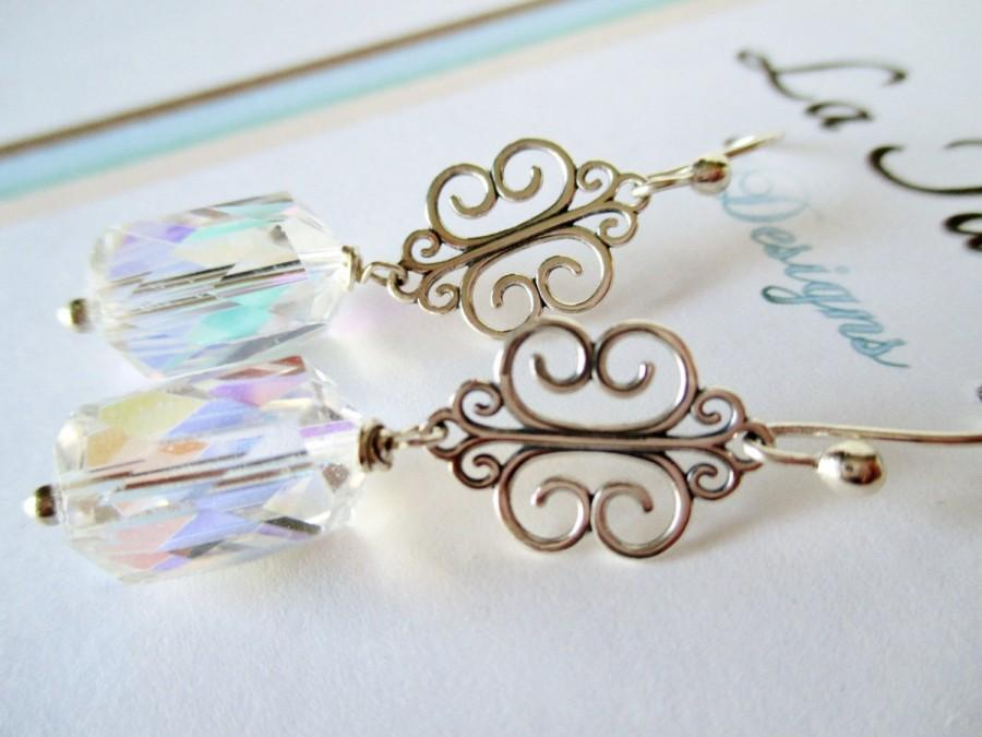 زفاف - Bridal Earrings, Silver Filigree Earrings, Sterling Silver Earrings , Swarovski AB Crystal Earrings, TM-171