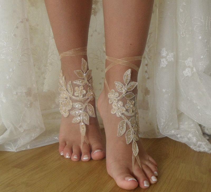 Champagne Lace Barefoot Sandals Beach Wedding ShoesWedding ShoesChampagne SandalsFrench SandalsBridal ShoesFoot Jewelry