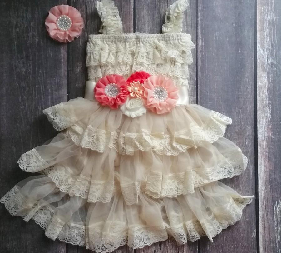 Wedding - Coral Peach Flower Girl Dress - Peach Flower Girl-Lace Flower Girl Dress - Coral Flower Girl - Lace Dress - Country Wedding-Coral Wedding