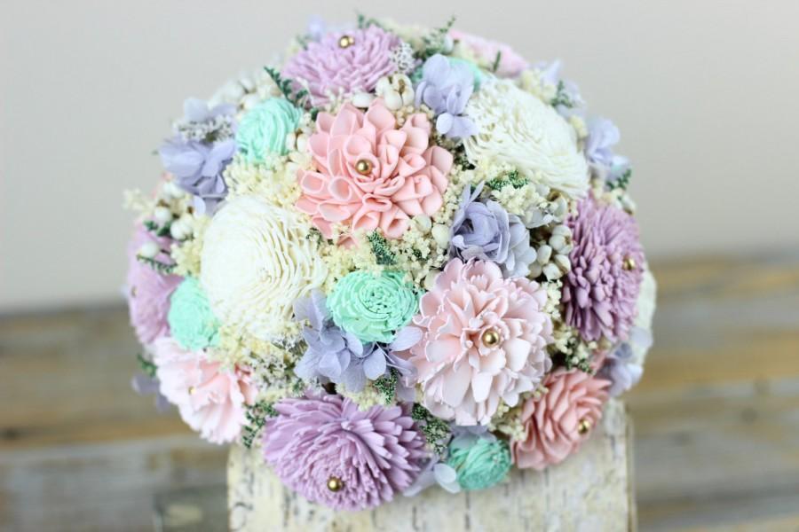 Mariage - Wedding Bouquet,Bridal Bouquet, Mint, Pink, Lavender, Sola Flower Bouquet, Handmade Wedding Bouquet, Keepsake Bouquet, Alternative Bouquet