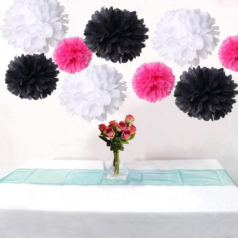 Bulk 18pcs mixed hot pink black white diy tissue paper flower pom bulk 18pcs mixed hot pink black white diy tissue paper flower pom poms wedding birtday bridal shower hanging party decoration mightylinksfo