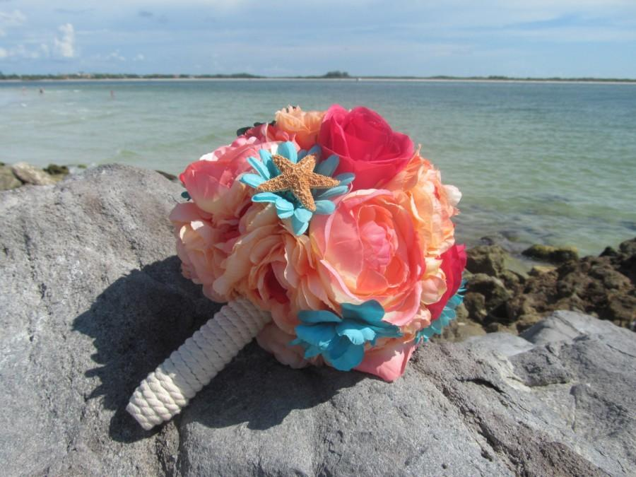 Mariage - Coral, And, Teal, Flower, Bridal, Bouquet, Bridesmaid, sugar, wedding, pink, blue, aqua,  florida, tropical, seashell, beach, starfish