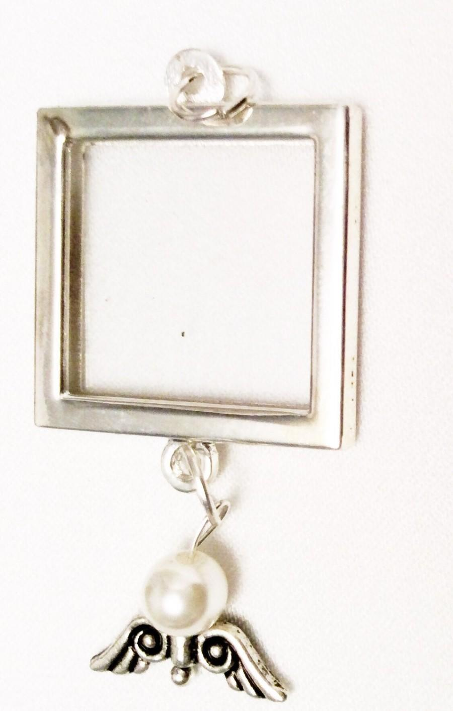 Mariage - Bouquet Charm / Photo Charm / Angel Charm / Silver Charm / Silver Angel Charm / Guardian Angel Charm / Guardian Angel Photo Charm