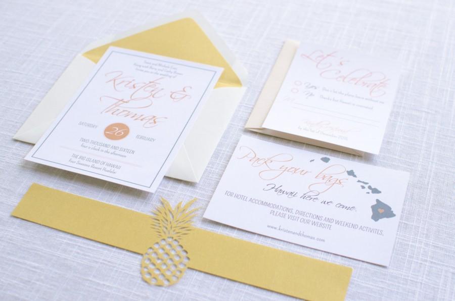 زفاف - Hawaiian Pineapple Wedding Invitation Suite Sample or Deposit / Wedding Invitation / #1120