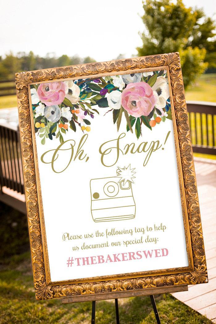 Mariage - hashtag wedding printable, hashtag wedding, Large Custom Wedding Sign, Blush and Gold Wedding Decor, Oh Snap Wedding sign