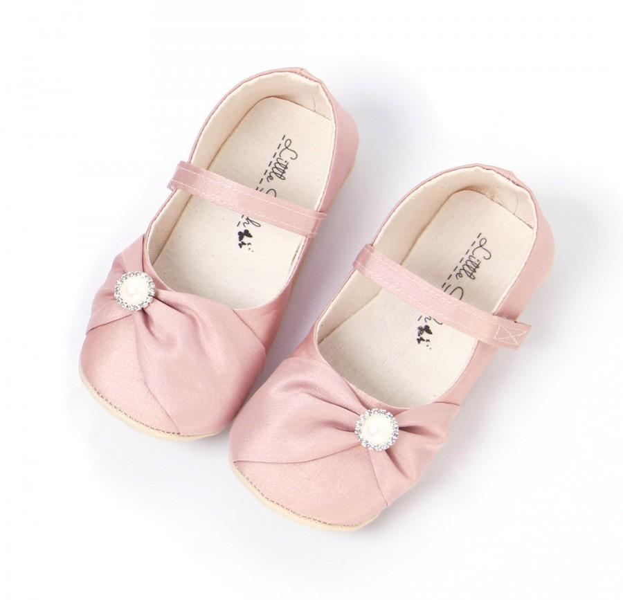 Blush Wedding Shoes Girls Shoes Flower Girl Shoes Wedding Flats Mary Janes  Blush Baby Shoes Blush Toddler Shoes Bow Shoes