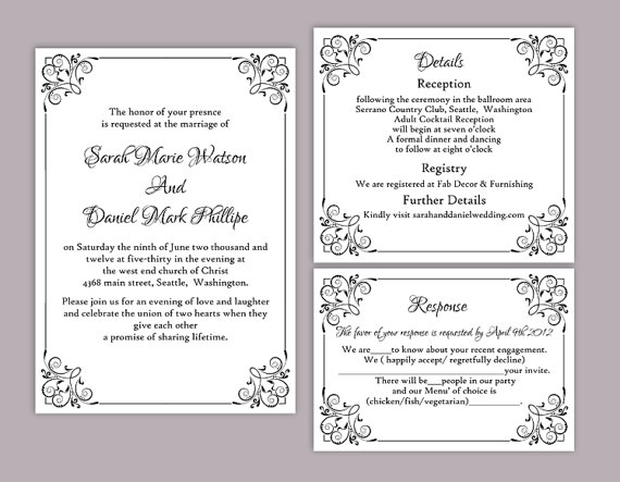 DIY Wedding Invitation Template Set Editable Word File Instant - Printable wedding invitation templates