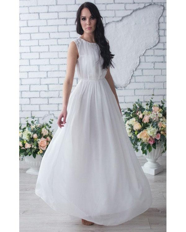 Bridesmaid dress white chiffon prom maxi dress white dress for Lace maxi wedding dress