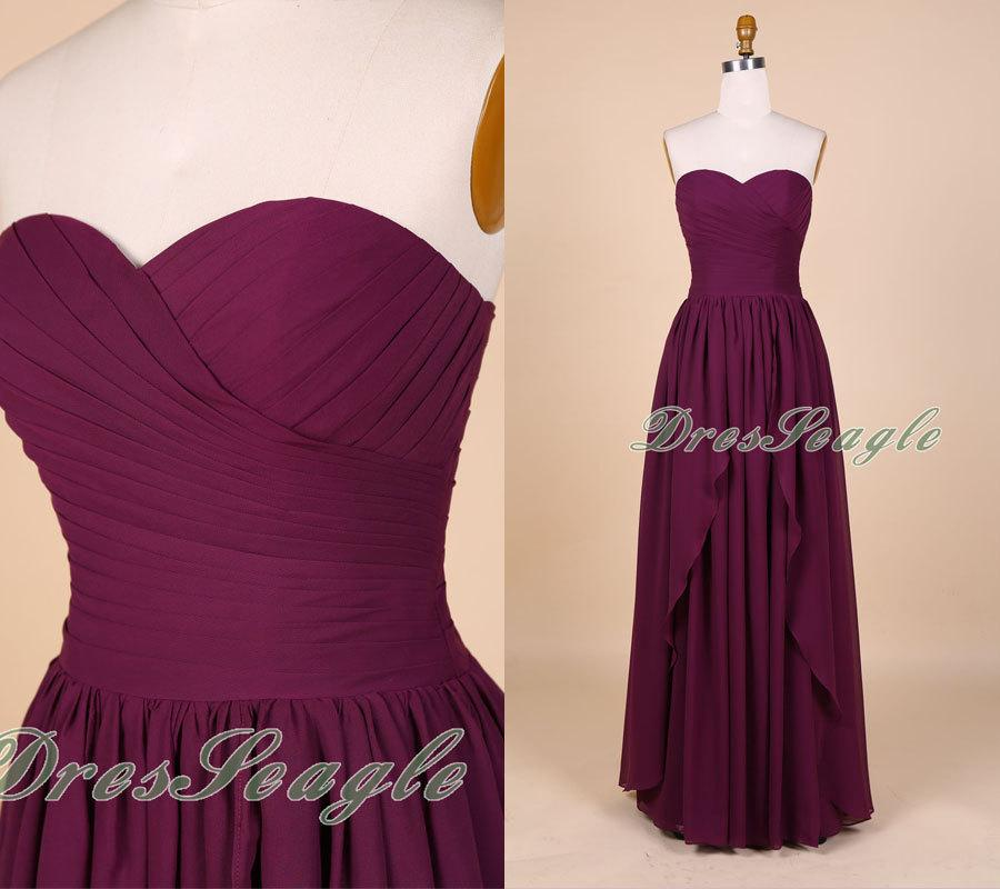 Свадьба - A line sweetheart strapless burgundy chiffon long bridesmaid dress,Long burgundy chiffon prom dress,Sweetheart simple evening dress