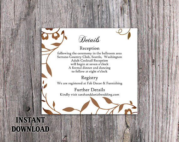Wedding - DIY Wedding Details Card Template Editable Word File Download Printable Leaf Details Card Rustic Gold Details Card Elegant Enclosure Card