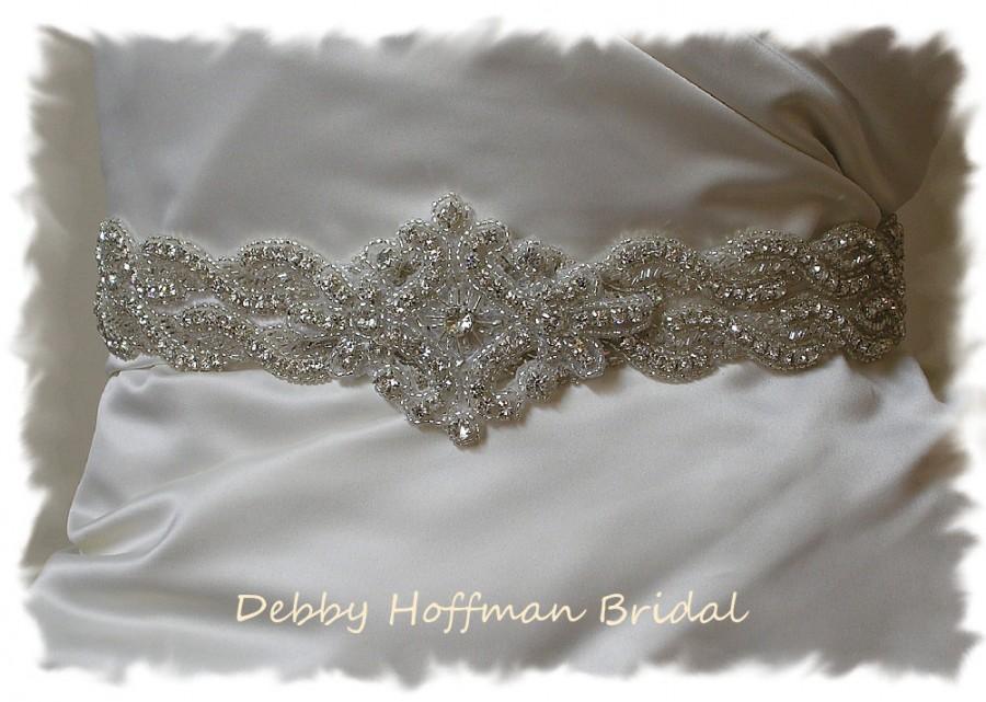 Hochzeit - Crystal Bridal Belt, 28 inch Rhinestone Beaded Wedding Dress Sash, Rhinestone Encrusted Bridal Sash, Jeweled Wedding Belt, No 1126S2-1161-28