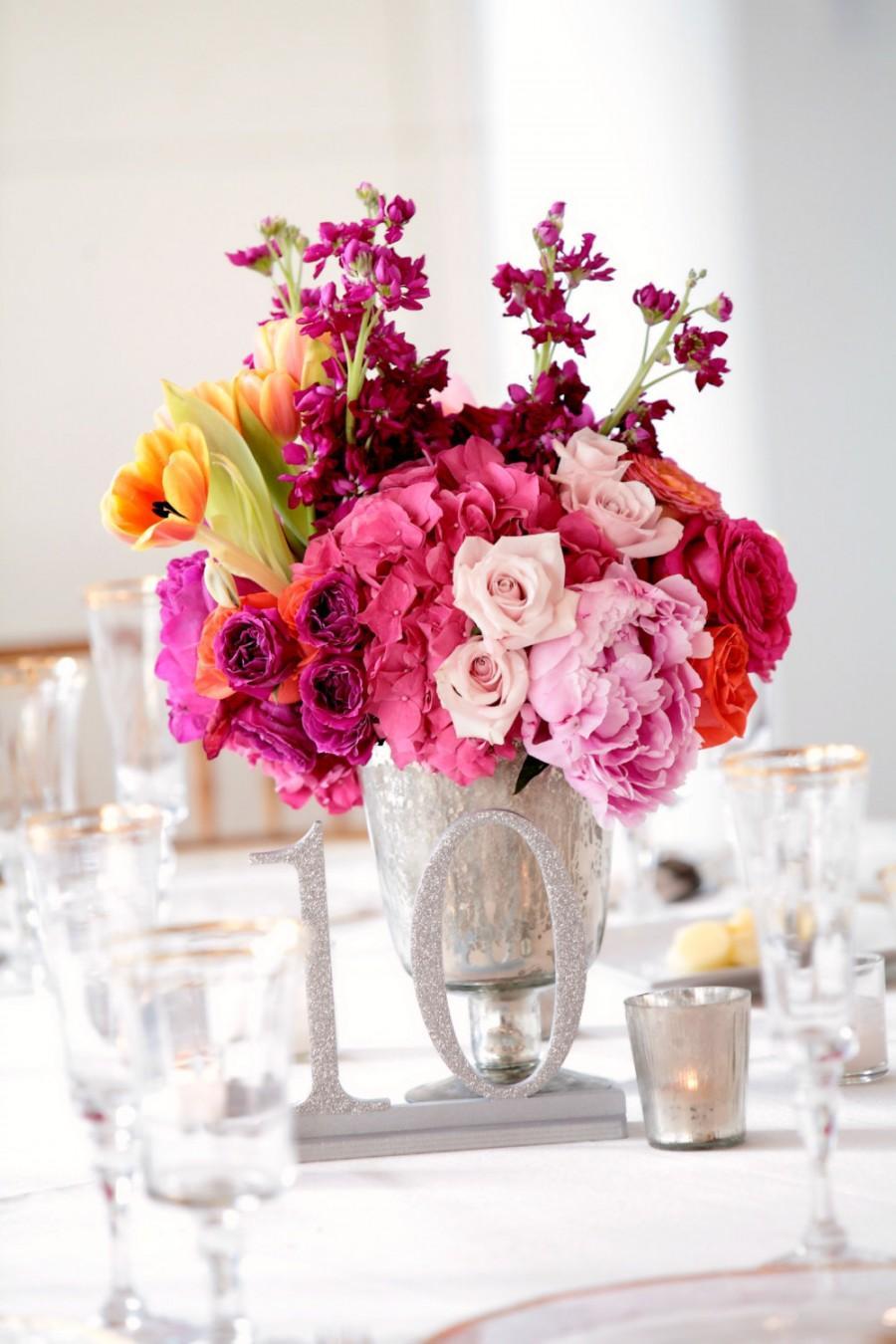 Свадьба - 1-5 Silver Glitter Wooden Wedding Table Numbers, Silver Table Numbers, Glittered Table Numbers
