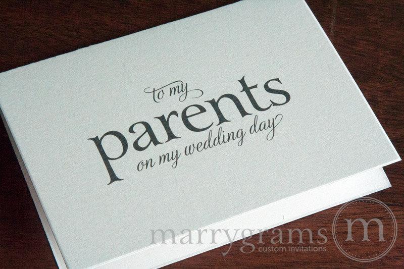 زفاف - Wedding Card to Your Mother or Father -- Parents of the Bride or Groom Cards - To My Parents on My Wedding Day Thank You Card Gift - CS08