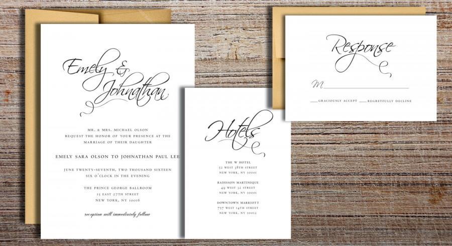 زفاف - Flourished Script Wedding Invitation Suite - Printable Wedding Invitation Suite, DIY Wedding Invitation