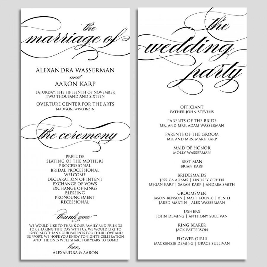 wedding programs samples free