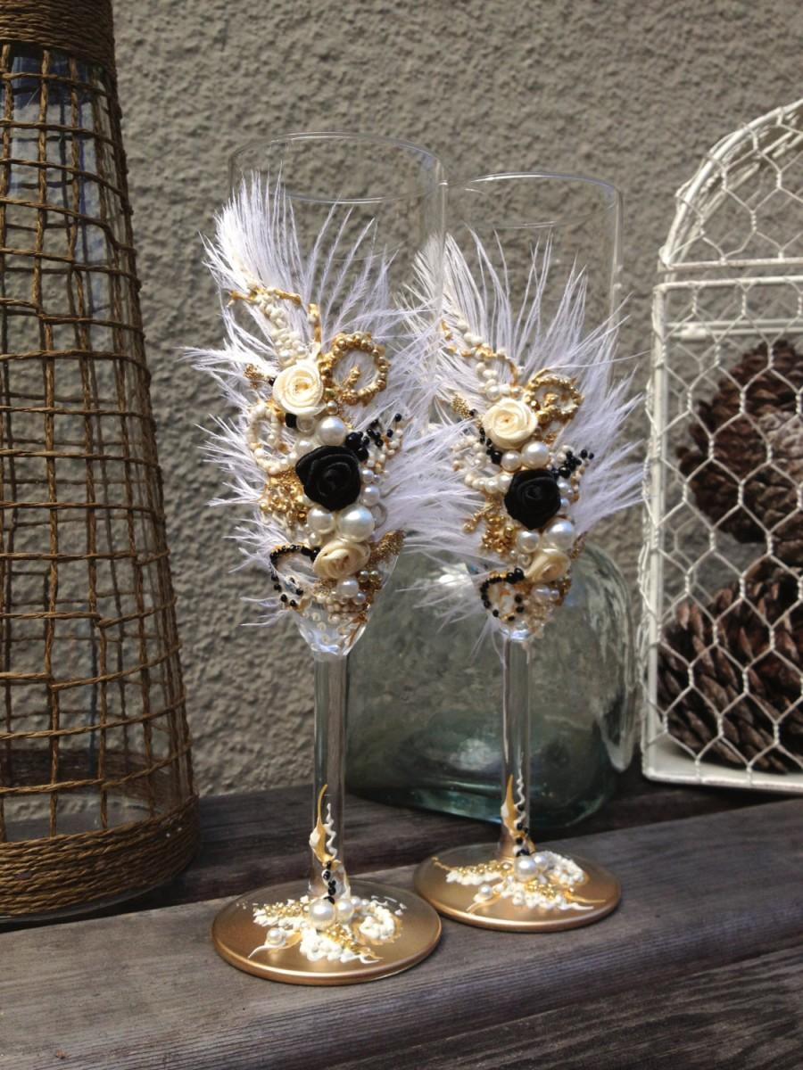 Great Gatsby Wedding Champagne Glasses With Ostrich Feathers In