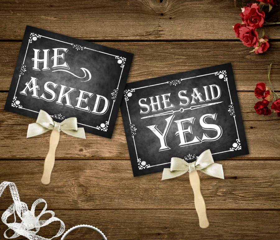 He Asked, She Said Yes Printable Chalkboard Wedding Signs, Engagement Photo Props, Instant ...