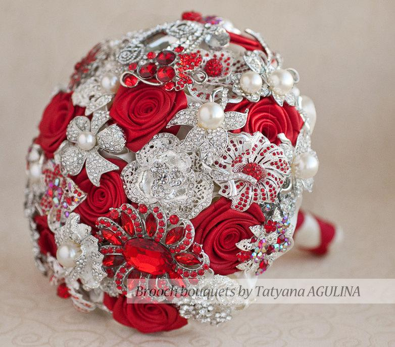 Bridal Bouquet Made Of Jewels : Brooch bouquet red and ivory wedding