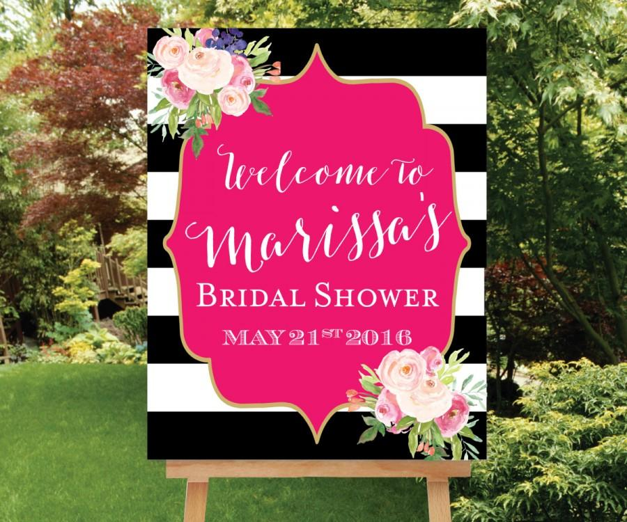 Shower Welcome Sign Large Welcome Sign Baby Shower Welcome Sign Floral Bridal Sign Pink Shower ...