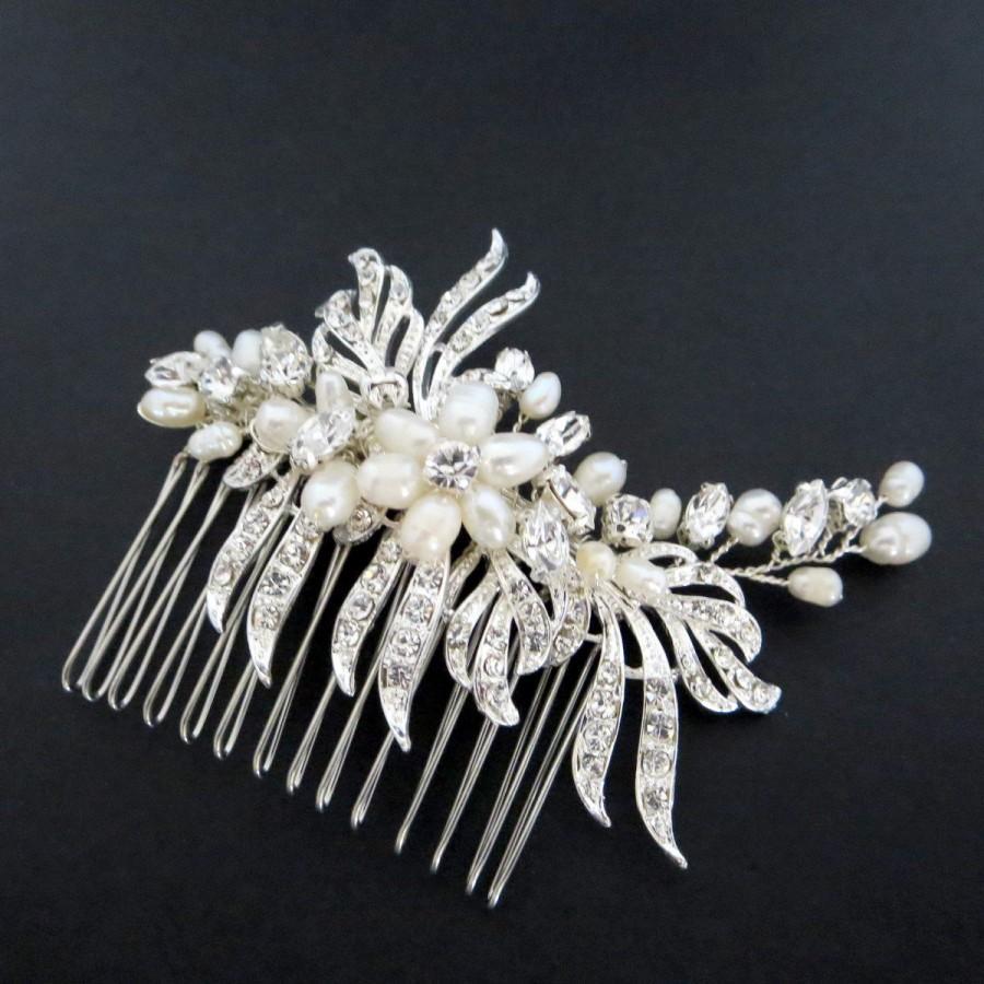 Свадьба - Bridal hair comb, Pearl hair comb, Rhinestone hair comb, Wedding headpiece, crystal and freshwater pearl hair comb, Wedding hair accessory