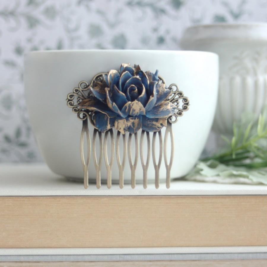 Свадьба - Dark Blue Gold Tipped Rose Comb. Vintage Corn Blue Wedding, Rustic Navy Blue Gold Wedding, Bridesmaids Something Blue Wedding Vintage Blue