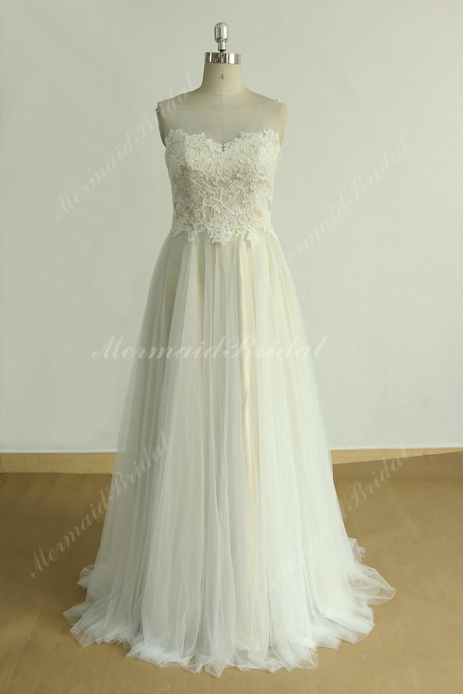 Свадьба - Flowy tulle lace wedding dress with illusion neckline and champgane lining