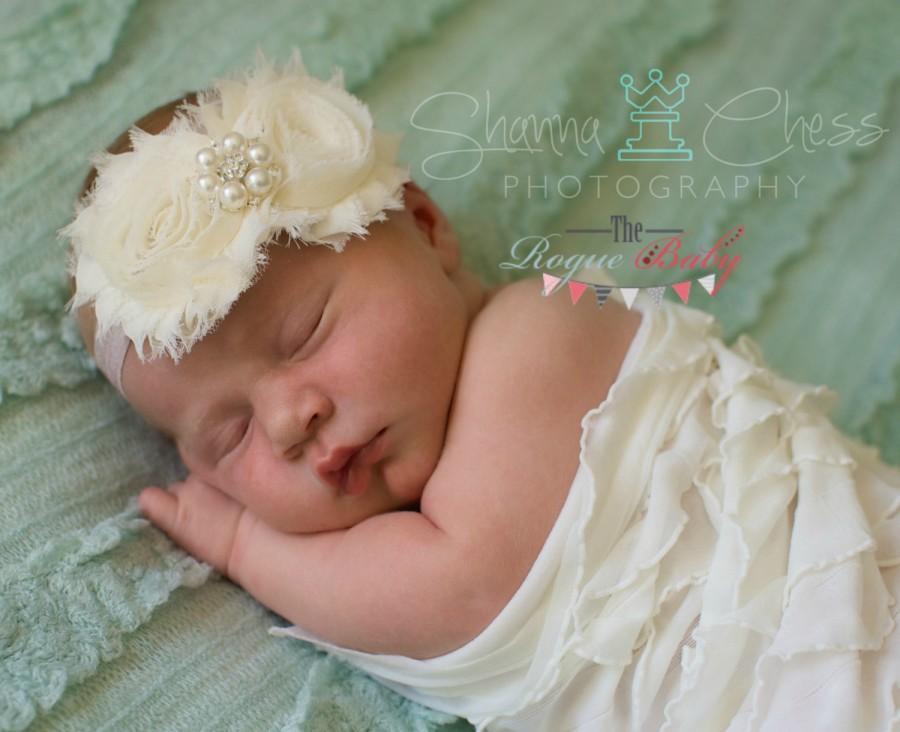 Свадьба - Ivory & Champagne Headband with Pearl Rhinestone -  Vintage Shabby Chic Style - Newborn Infant Baby Toddler Girls Adult Wedding