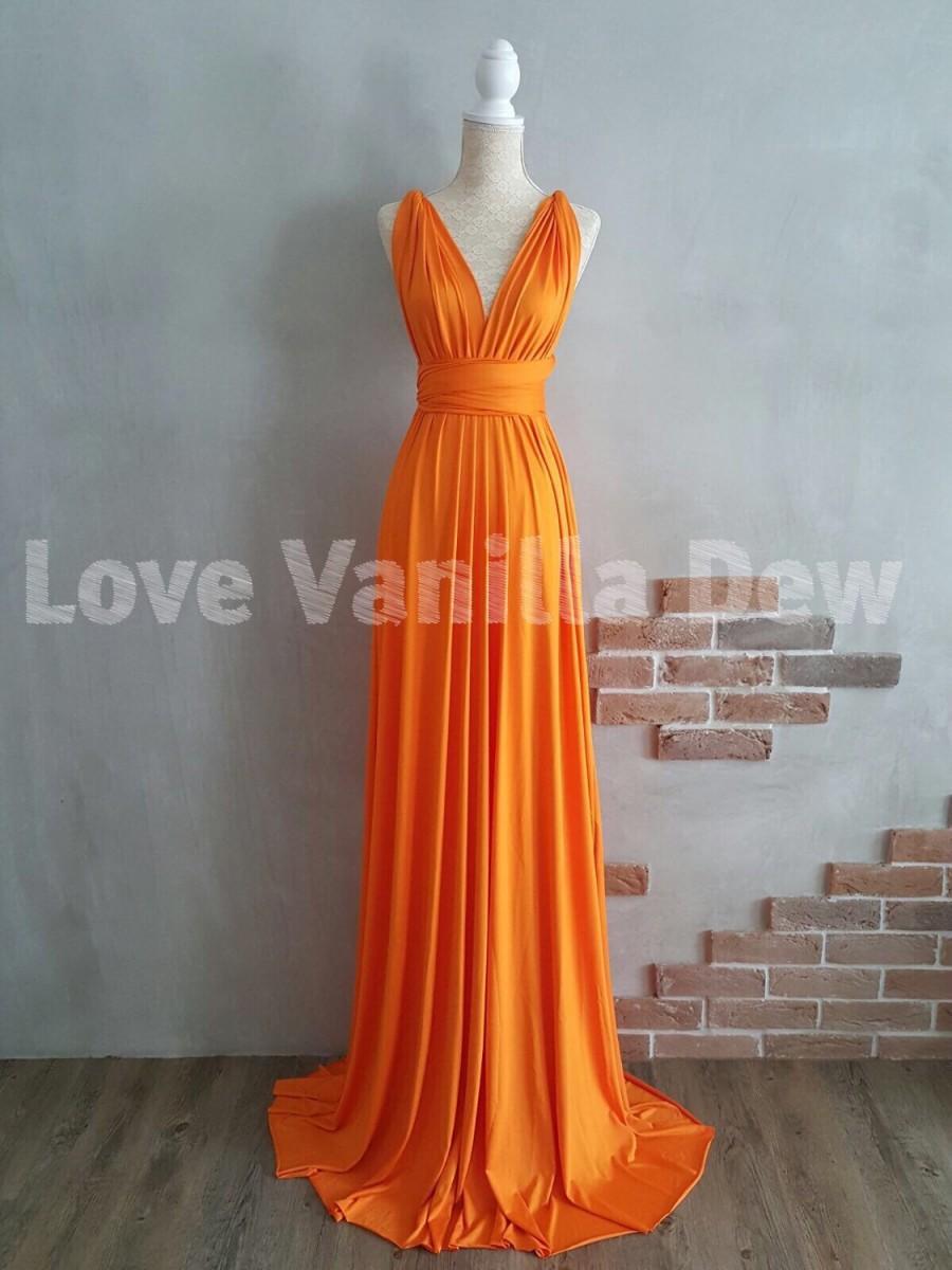 Свадьба - Bridesmaid Dress Infinity Dress Bright Orange Floor Length Maxi Wrap Convertible Dress Wedding Dress