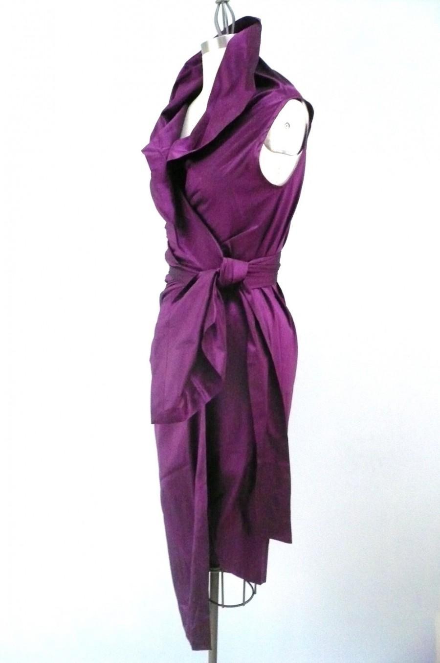 Mariage - Maria Severyna royal magenta Dupioni Wrap Dress