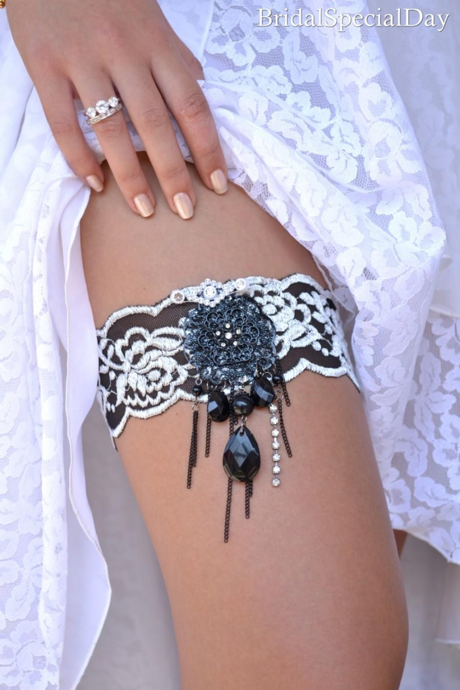 Black Wedding Garter Set Bridal Pearls Grey Lace Gift Handmade
